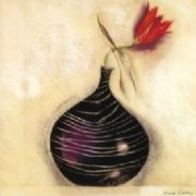 Tulip Black Vase - Fine Art Greeting Card